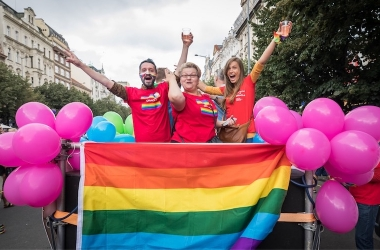 Enjoy Airbnb Experience: Prague Pride on the top of a float